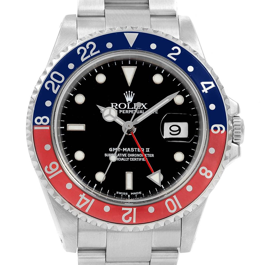 21029A Rolex GMT Master II Blue Red Pepsi Bezel Insert Watch 16710 Box Papers SwissWatchExpo