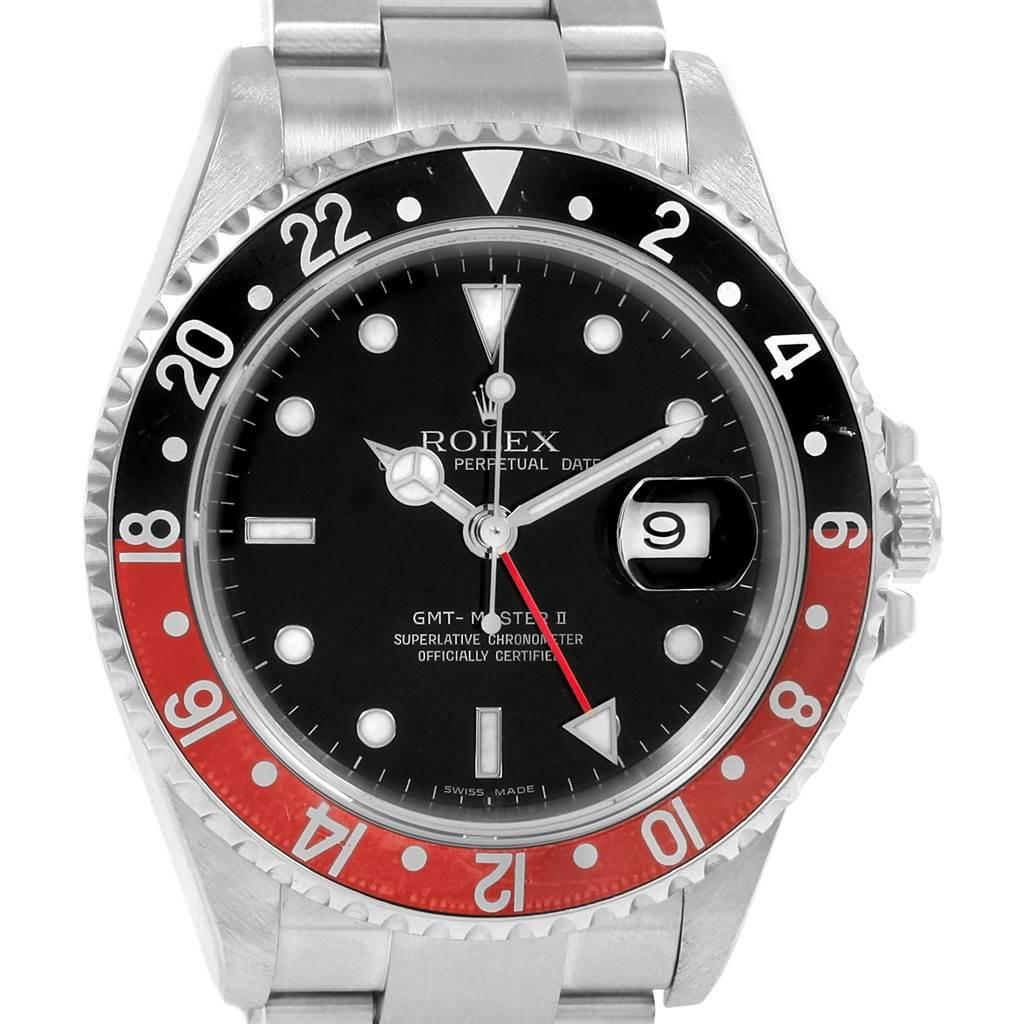21057 Rolex GMT Master II 40mm Black Red Coke Bezel Mens Watch 16710 SwissWatchExpo