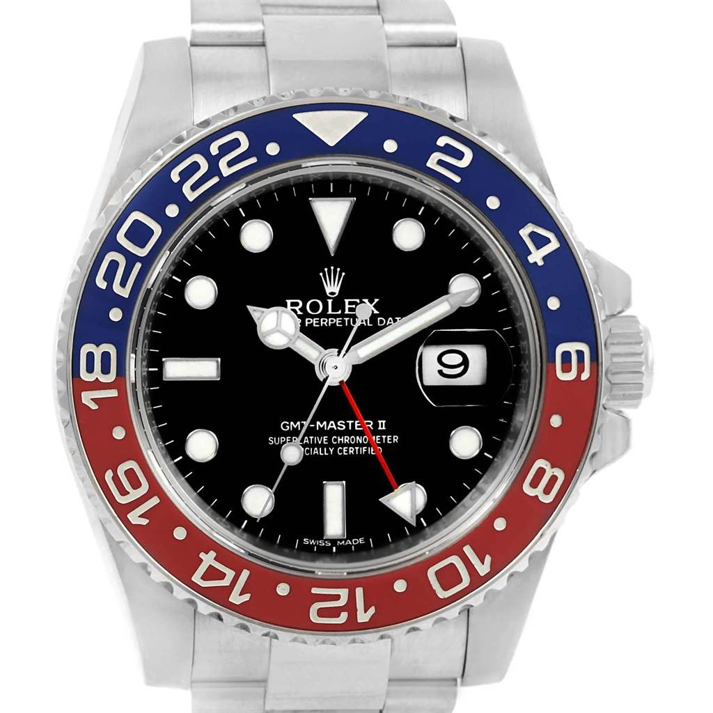 Rolex GMT Master II White Gold Pepsi Bezel Mens Watch 116719 Box Card SwissWatchExpo
