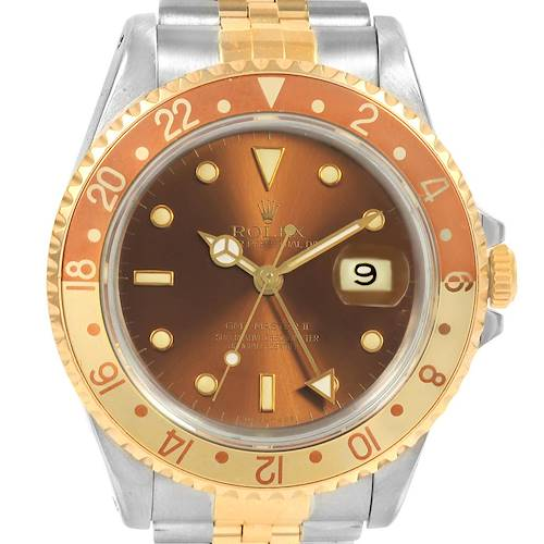 Photo of Rolex GMT Master II Rootbeer Yellow Gold Steel Mens Watch 16713 Box