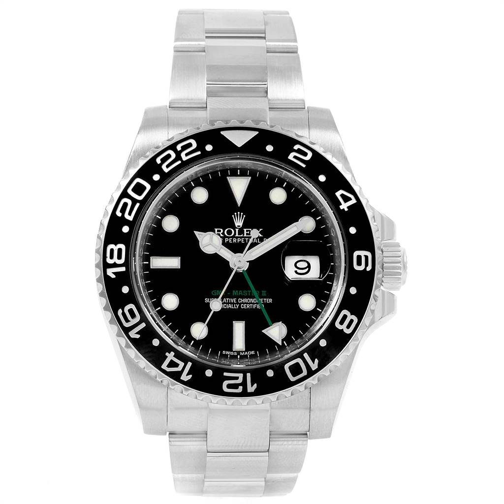 21753 Rolex GMT Master II 40mm Black Dial Green Hand Mens Watch 116710 SwissWatchExpo