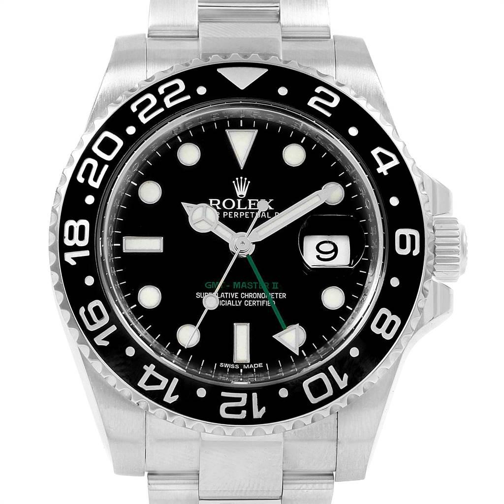 21753 Rolex GMT Master II 40mm Black Dial Green Hand Mens Watch 116710 SwissWatchExpo