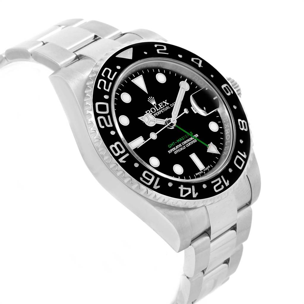 21752 Rolex GMT Master II Green Hand Steel Mens Watch 116710 Box Card SwissWatchExpo