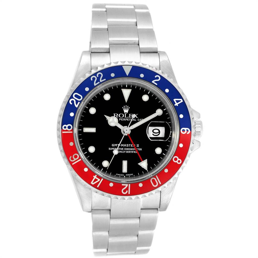 21599 Rolex GMT Master II Blue Red Pepsi Bezel Mens Watch 16710 Box Papers SwissWatchExpo