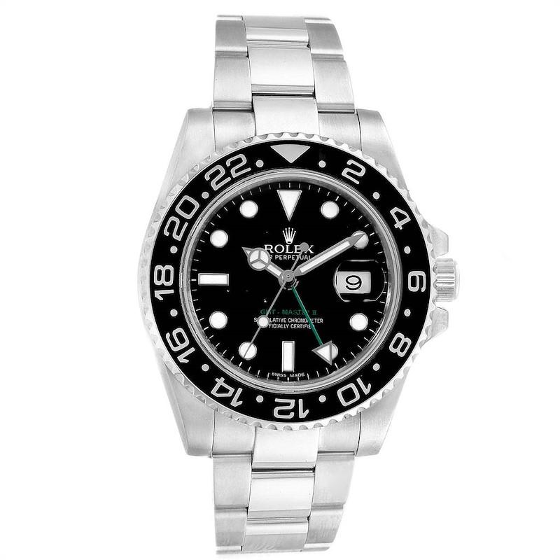Rolex GMT Master II 40mm Black Dial Green Hand Mens Watch 116710 SwissWatchExpo