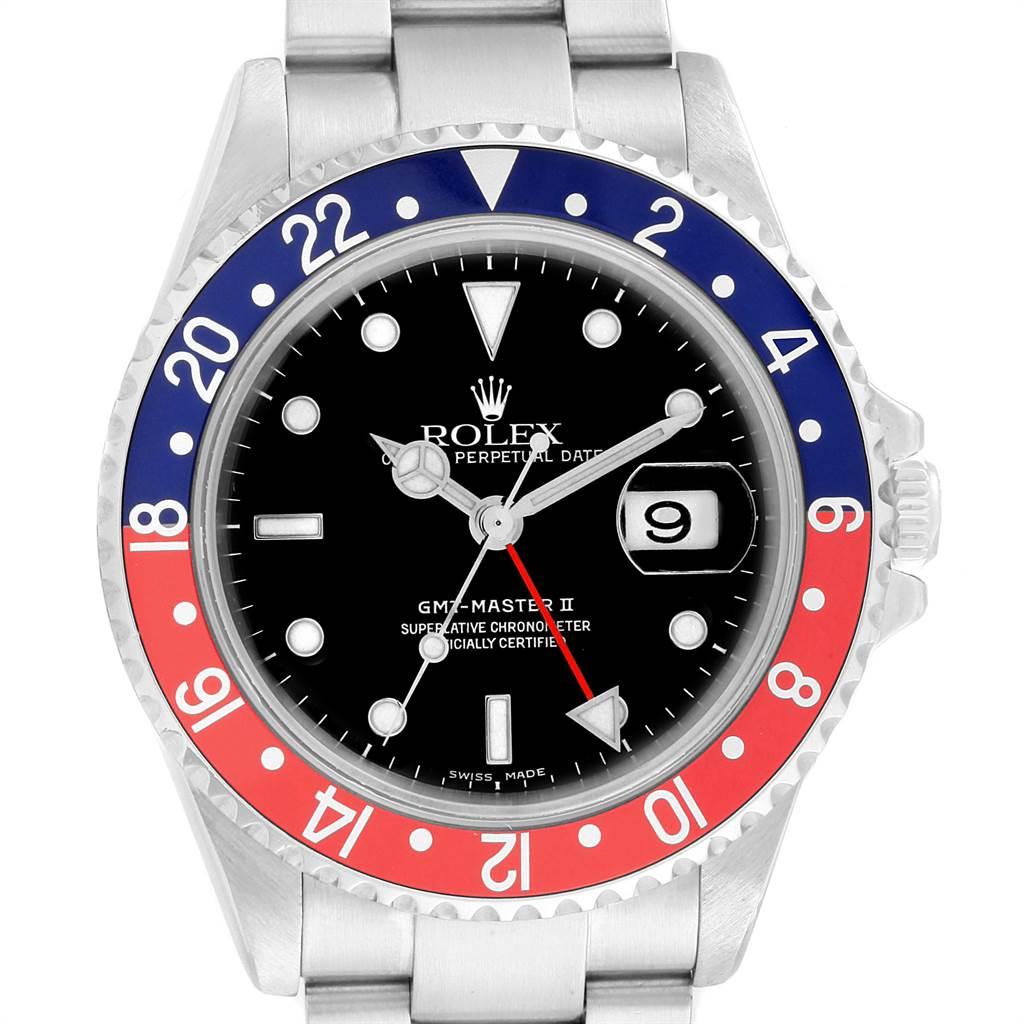 21779 Rolex GMT Master II Blue Red Pepsi Bezel Steel Mens Watch 16710 SwissWatchExpo