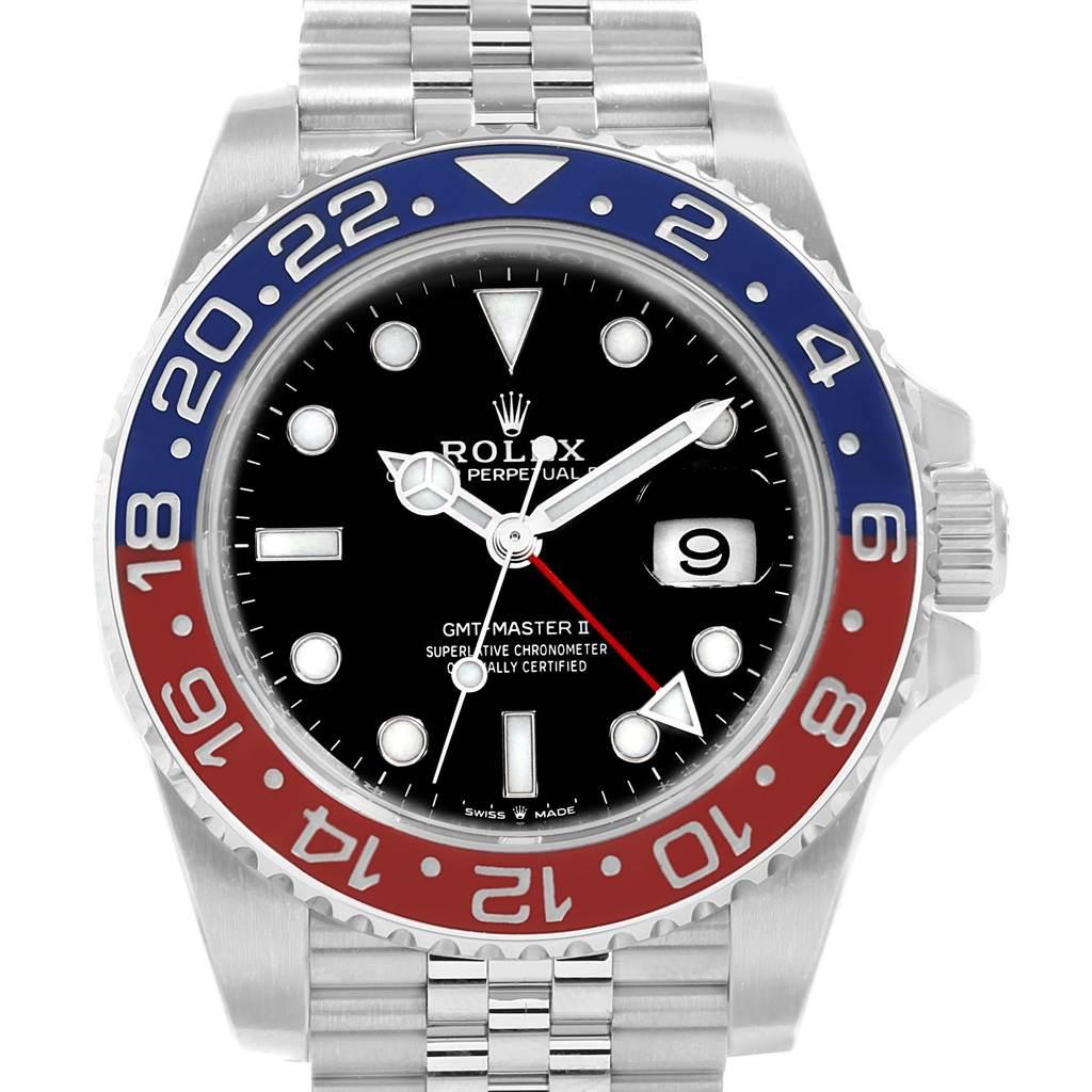 22085 Rolex GMT Master II Pepsi Bezel Jubilee Steel Watch 126710 Unworn SwissWatchExpo