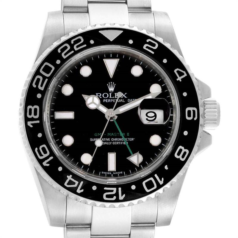 Rolex GMT Master II 40 Black Dial Green Hand Mens Watch 116710 SwissWatchExpo
