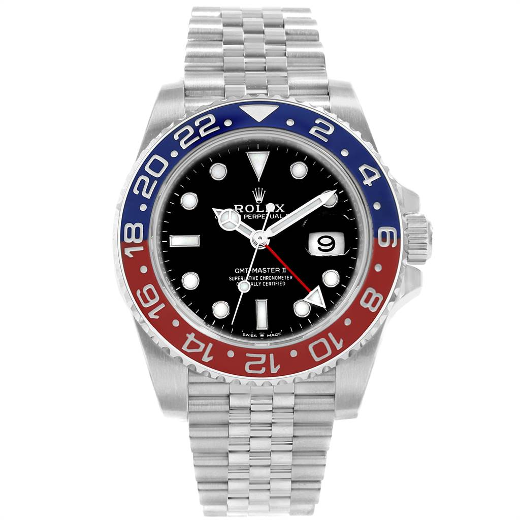 22339 Rolex GMT Master II Pepsi Bezel Jubilee Steel Watch 126710 Box Card SwissWatchExpo