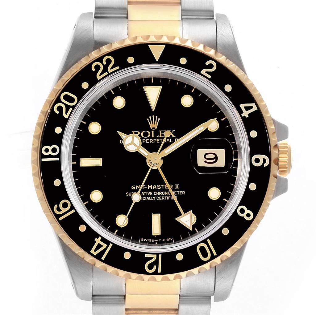 Rolex GMT Master II Yellow Gold Steel Oyster Bracelet Mens Watch 16713 SwissWatchExpo