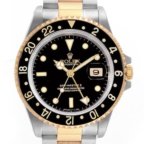 Photo of Rolex GMT Master II Yellow Gold Steel Oyster Bracelet Mens Watch 16713