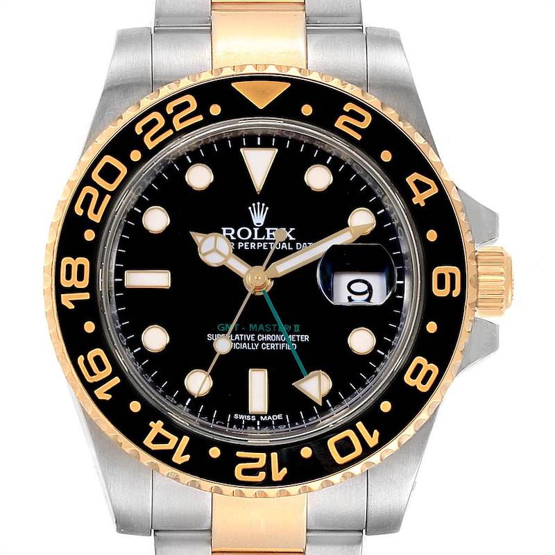 Rolex GMT Master II Yellow Gold Steel Green Hand Mens Watch 116713 SwissWatchExpo
