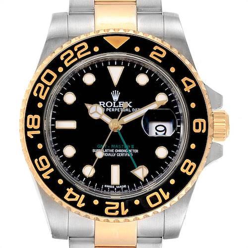 Photo of Rolex GMT Master II Yellow Gold Steel Green Hand Mens Watch 116713