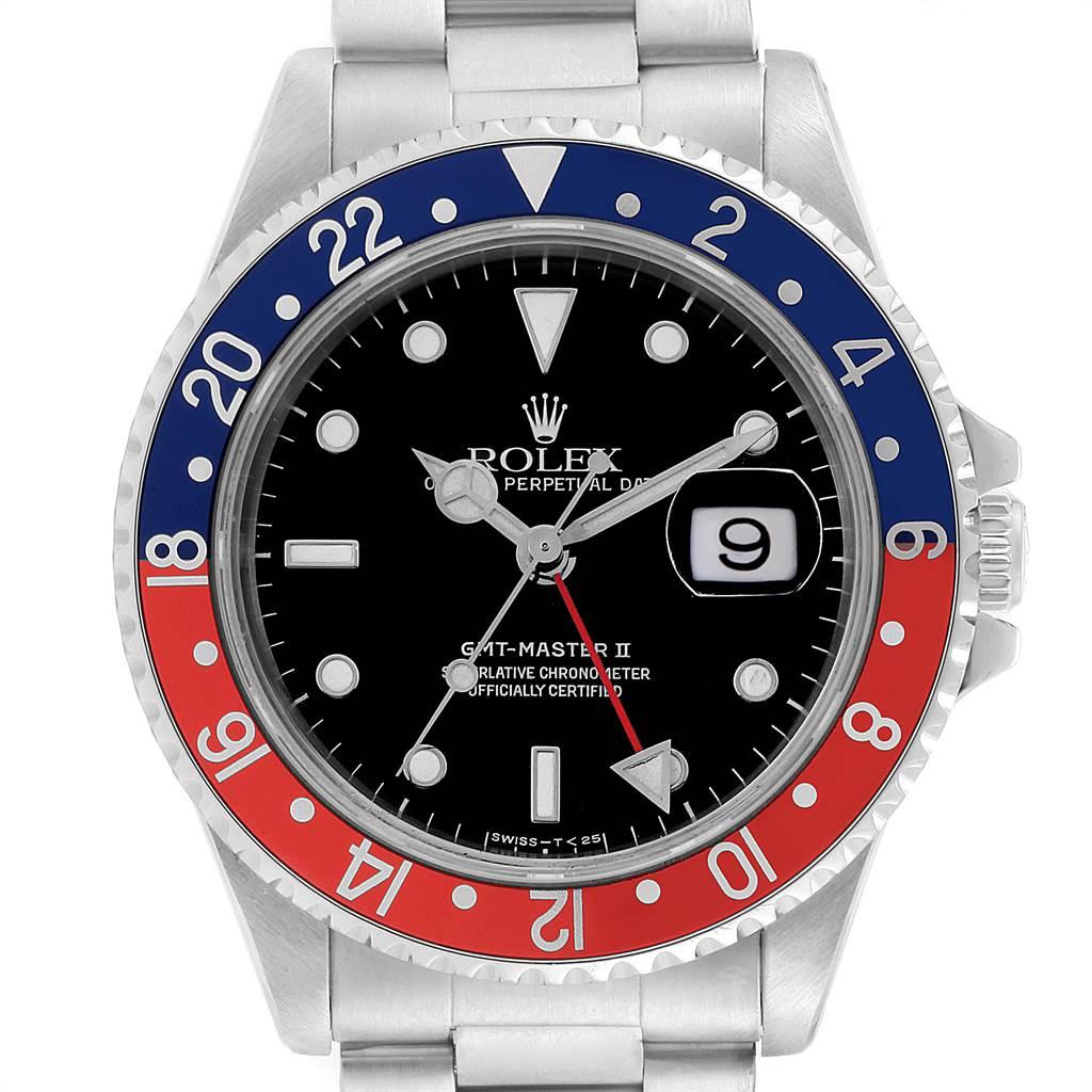 22379X Rolex GMT Master II Blue Red Pepsi Bezel Steel Mens Watch 16710 SwissWatchExpo