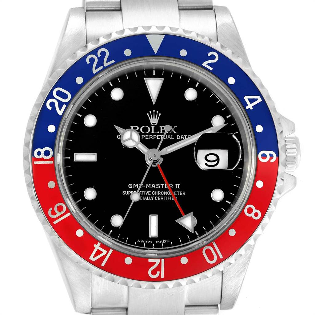 23054 Rolex GMT Master II Blue Red Pepsi Bezel Steel Mens Watch 16710 SwissWatchExpo