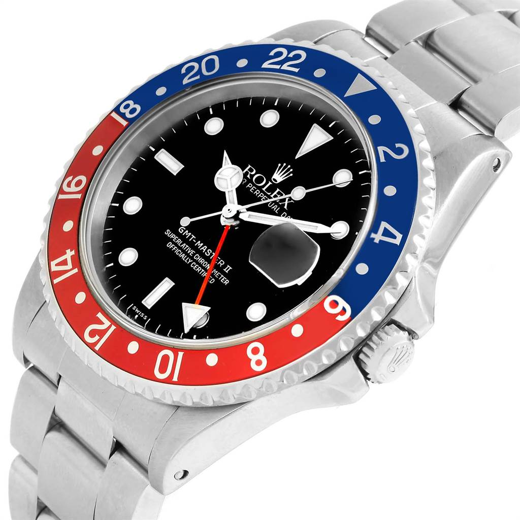 22958 Rolex GMT Master II Blue Red Pepsi Bezel Steel Mens Watch 16710 SwissWatchExpo
