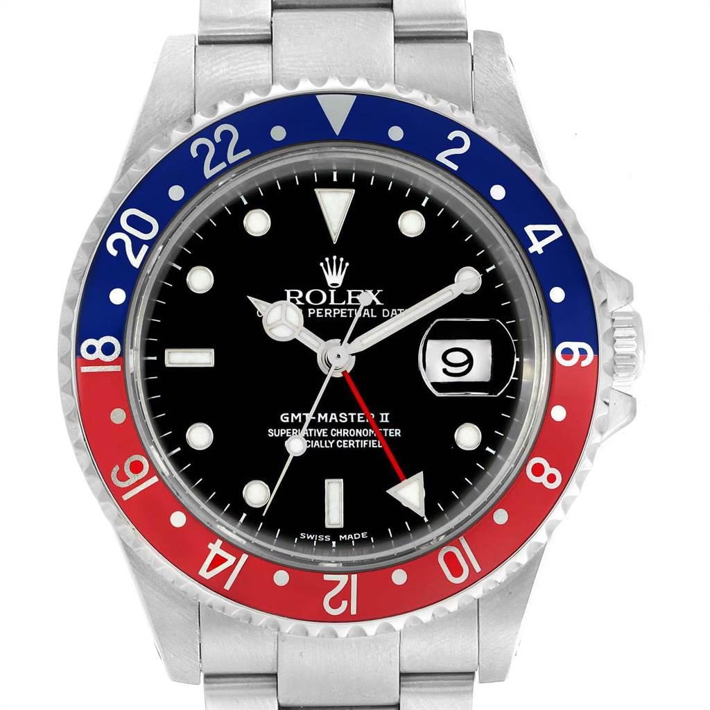 22972 Rolex GMT Master II Blue Red Pepsi Bezel Mens Watch 16710 Box Papers SwissWatchExpo