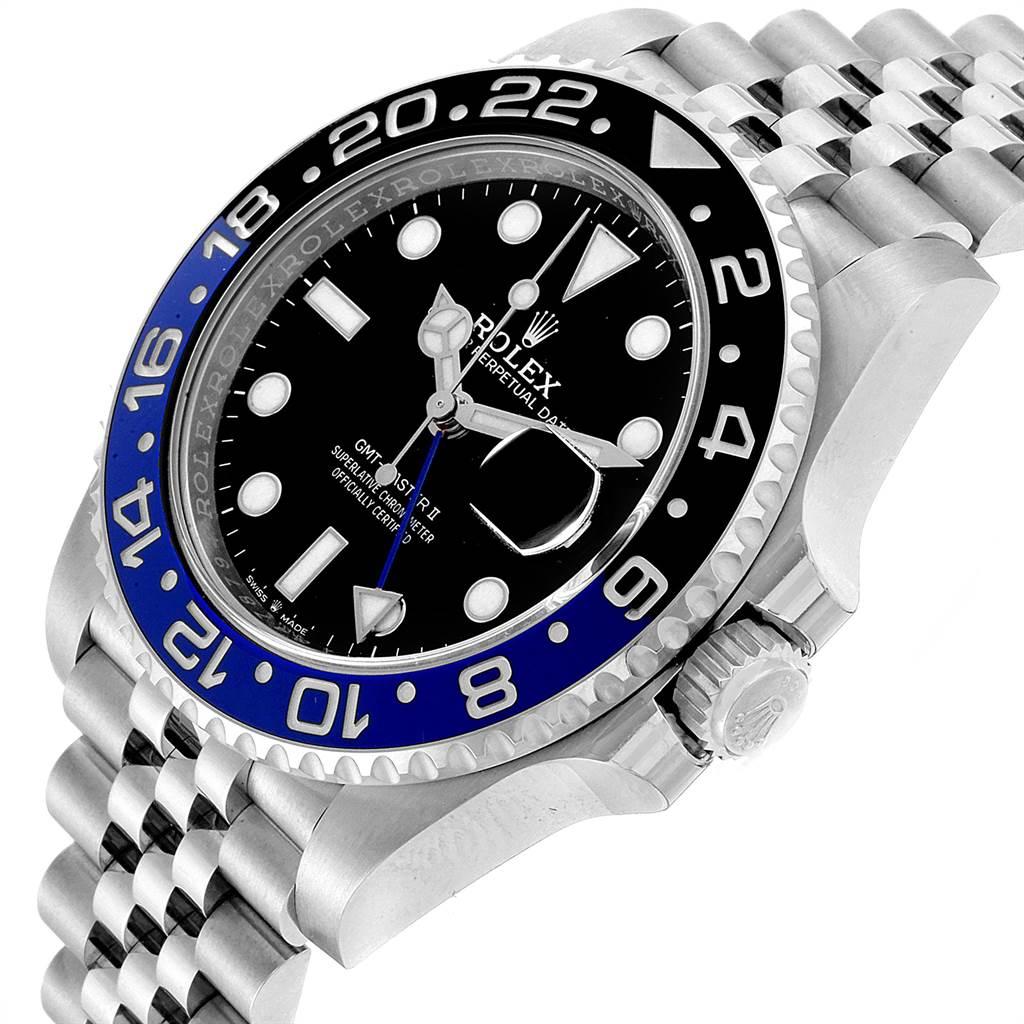 23125 Rolex GMT Master II Black Blue Batman Jubilee Steel Watch 126710 Unworn SwissWatchExpo