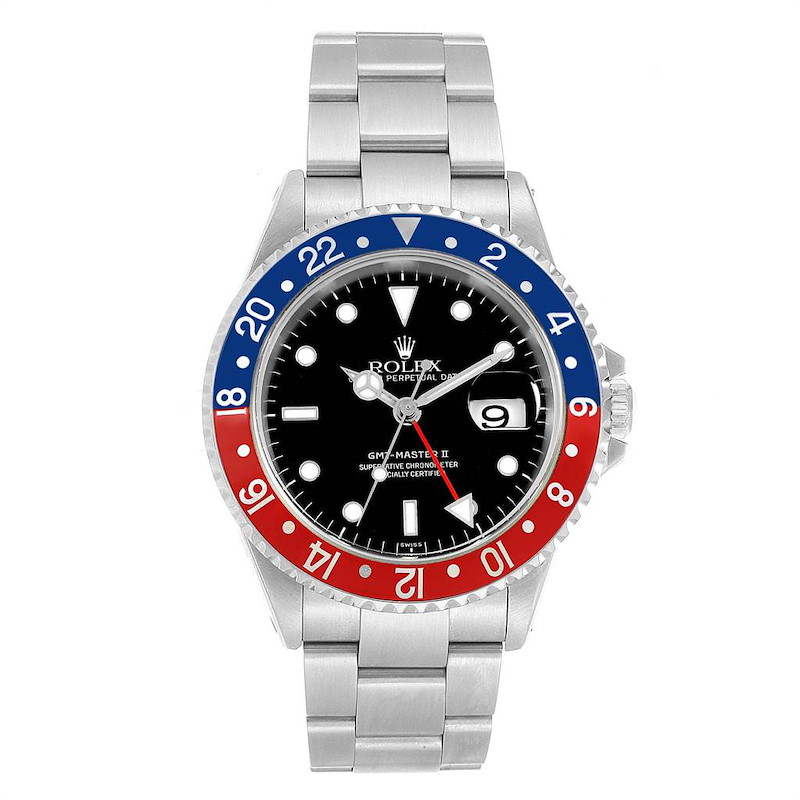Rolex GMT Master II Blue Red Pepsi Bezel Steel Mens Watch 16710 SwissWatchExpo