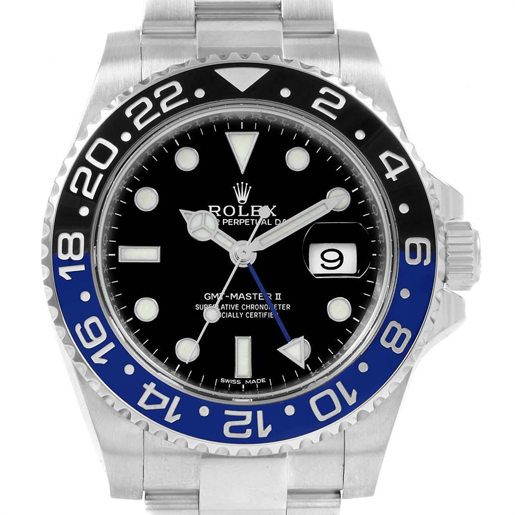 Rolex GMT Master II Batman Blue Black Bezel Steel Watch 116710 Box Card SwissWatchExpo