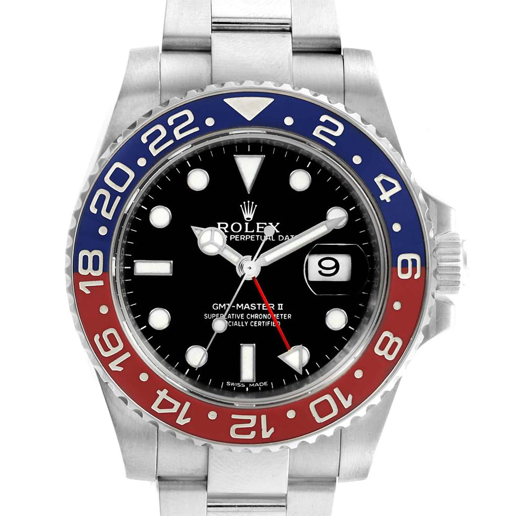 23137 Rolex GMT Master II White Gold Pepsi Bezel Mens Watch 116719 Box  SwissWatchExpo