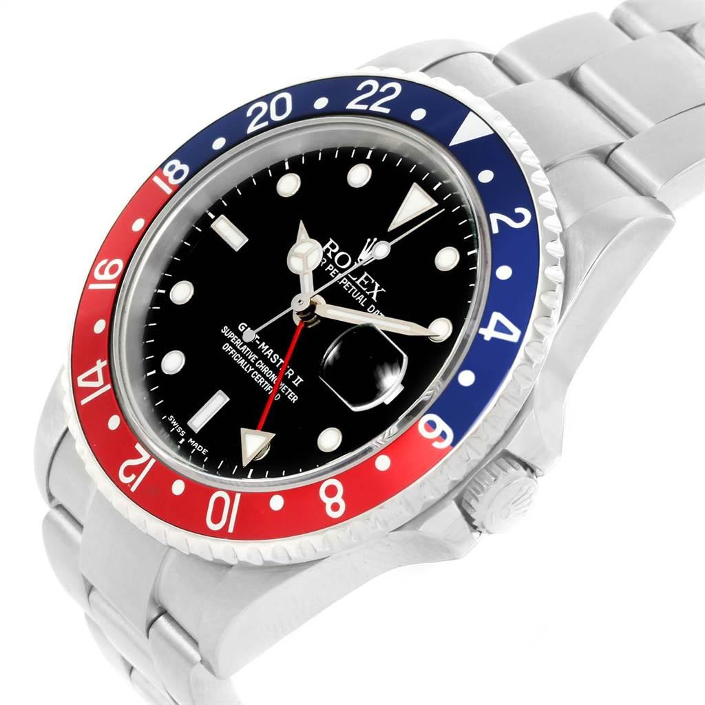 23106 Rolex GMT Master II Blue Red Pepsi Bezel Steel Mens Watch 16710 SwissWatchExpo