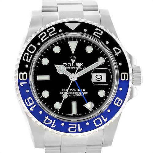 Photo of Rolex GMT Master II Batman Blue Black Bezel Steel Watch 116710 Box Card