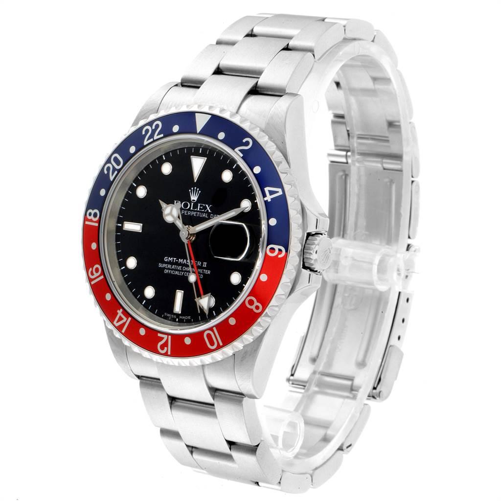 23201 Rolex GMT Master II 3 Coke Pepsi Black Bezel Inserts Mens Watch 16710 SwissWatchExpo