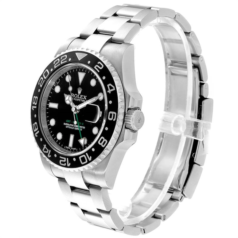 Rolex GMT Master II 40mm Black Dial Green Hand Mens Watch 116710 SwissWatchExpo