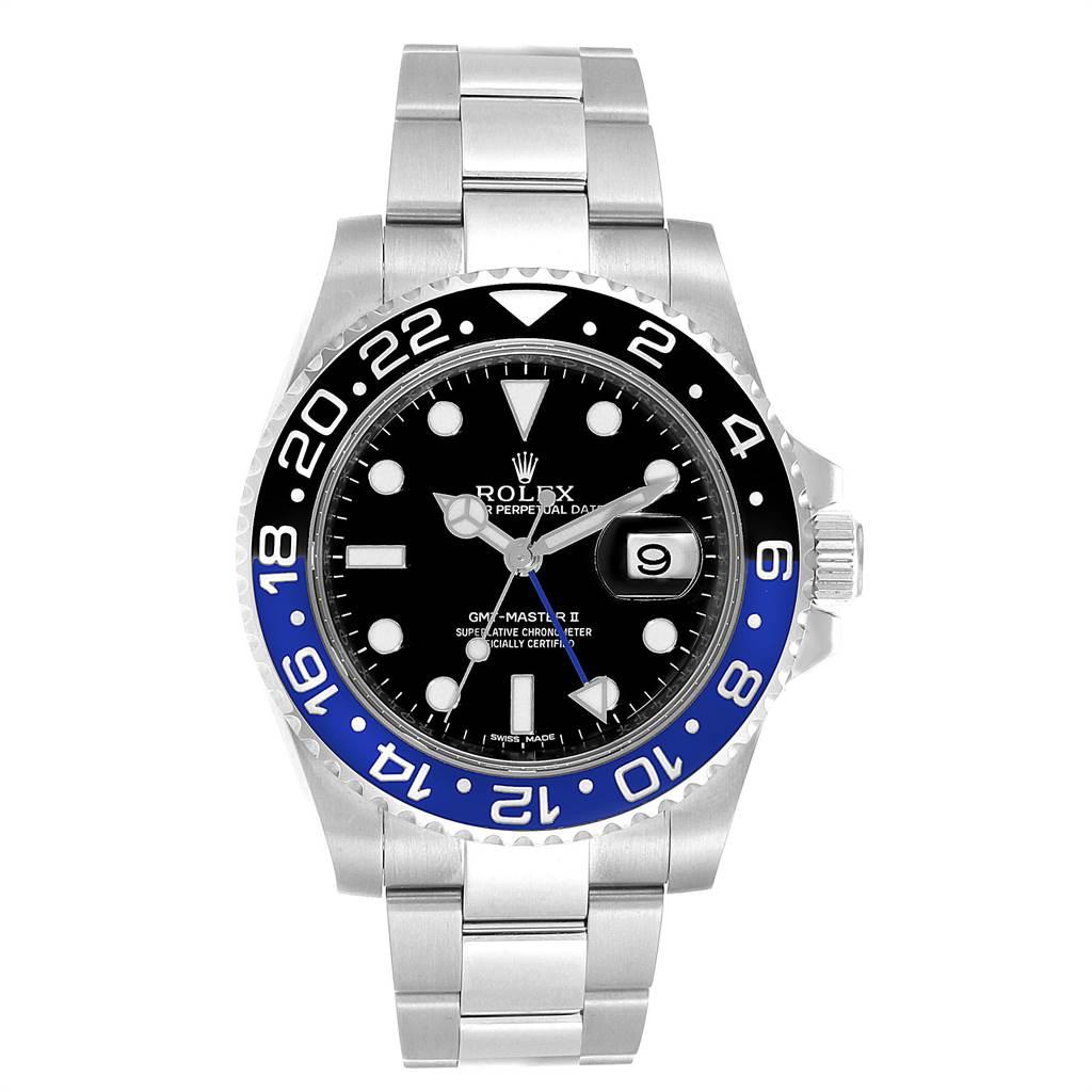 23361 Rolex GMT Master II Batman Blue Black Bezel Steel Watch 116710 Box Card SwissWatchExpo