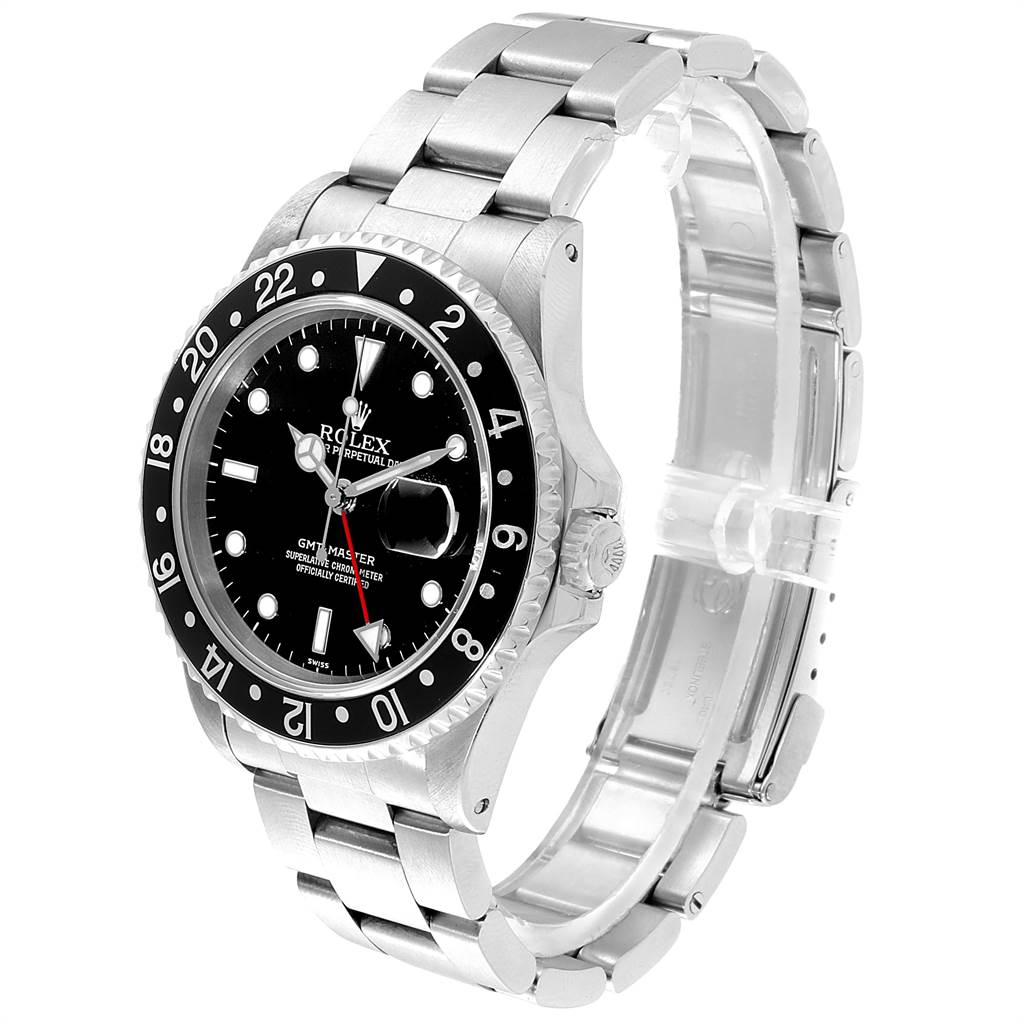 23030 Rolex GMT Master Black Bezel Automatic Steel Mens Watch 16700 SwissWatchExpo