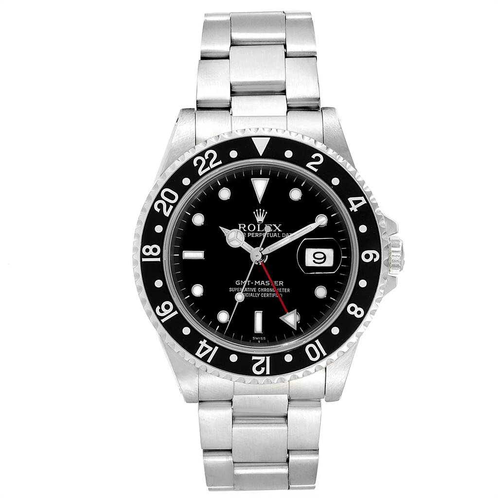Rolex GMT Master Black Bezel Automatic Steel Mens Watch 16700 SwissWatchExpo