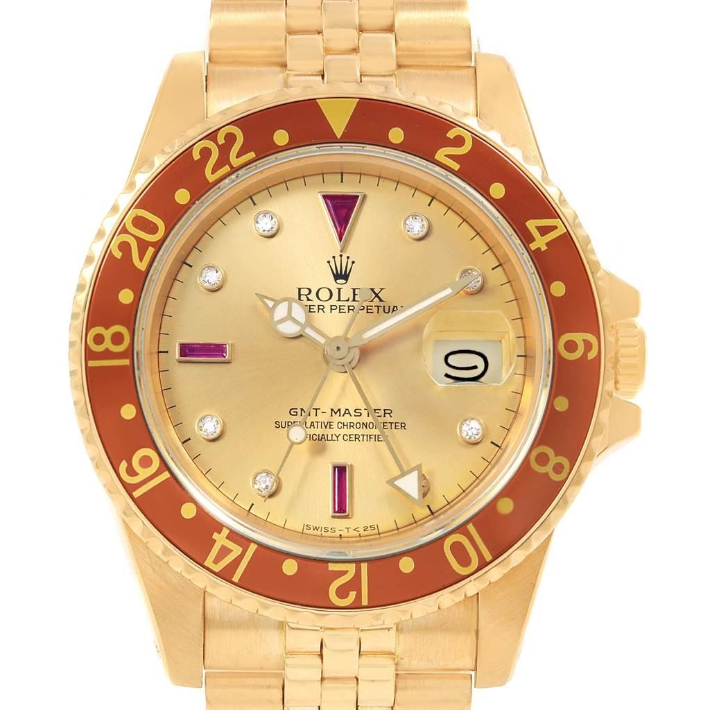 18148 Rolex GMT Master Vintage Yellow Gold Serti Diamond Ruby Watch 16758 SwissWatchExpo