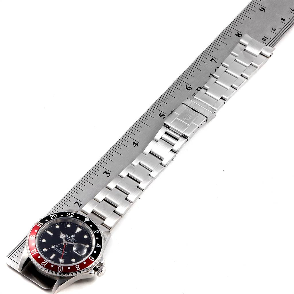 23342 Rolex GMT Master II Black Red Coke Bezel Steel Mens Watch 16710 SwissWatchExpo