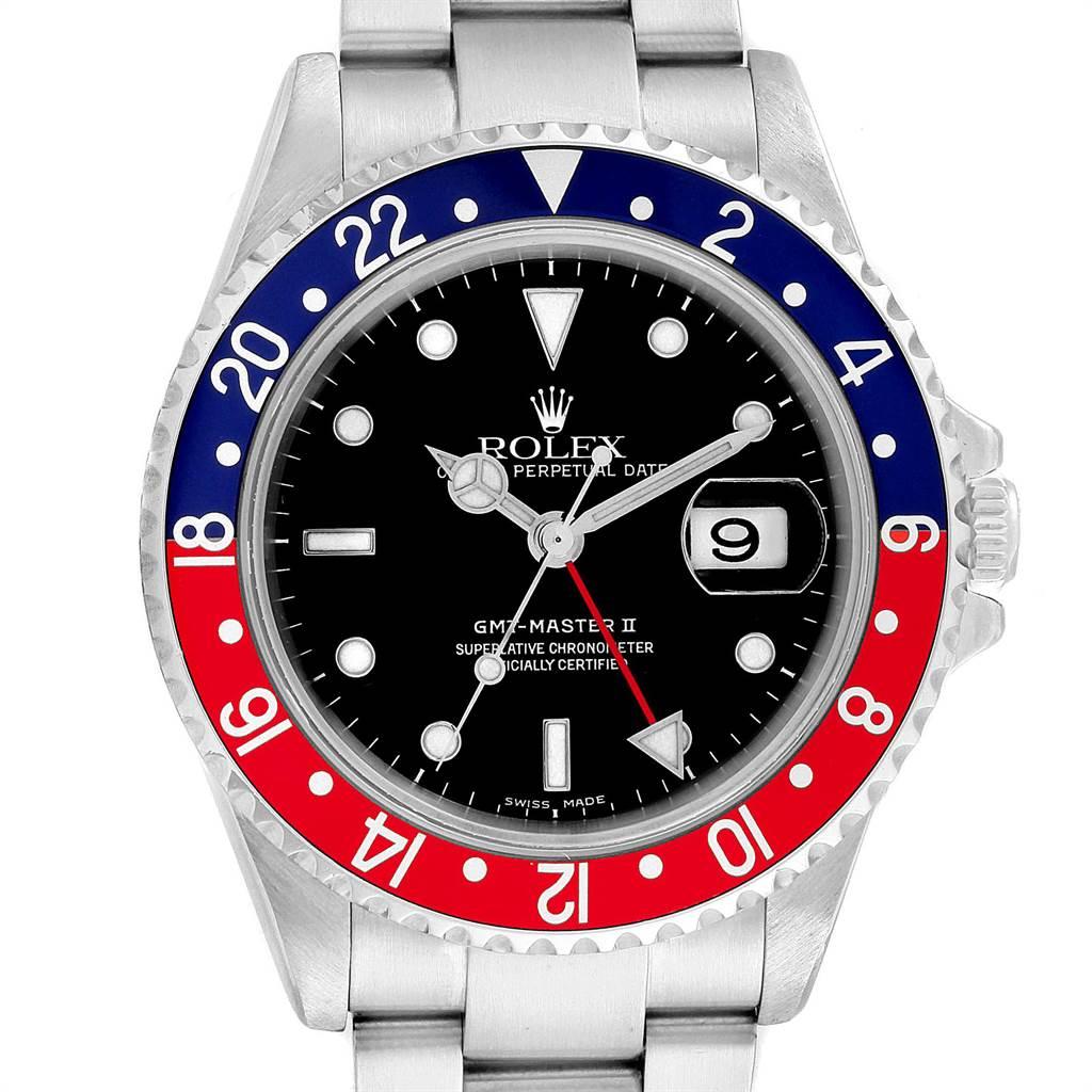 23350 Rolex GMT Master II Blue Red Pepsi Bezel Steel Mens Watch 16710 SwissWatchExpo
