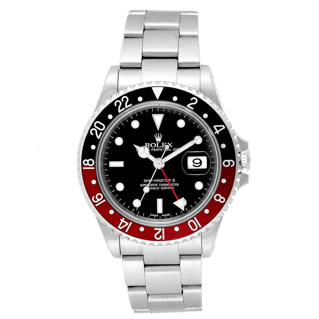 23566 Rolex GMT Master II 3 Coke Pepsi Black Bezel Inserts Mens Watch 16710 SwissWatchExpo
