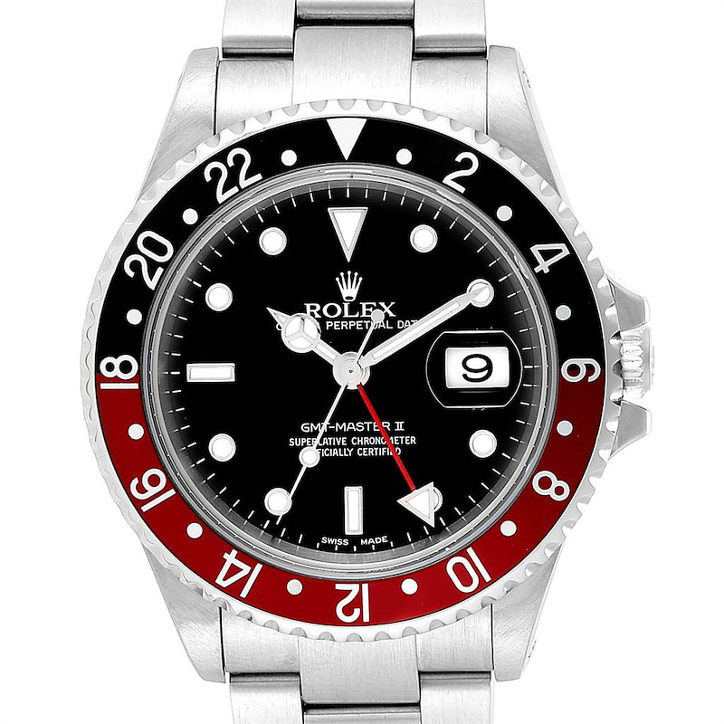 Rolex GMT Master II 3 Coke Pepsi Black Bezel Inserts Mens Watch 16710 SwissWatchExpo