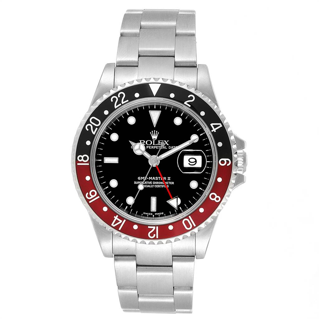 23565 Rolex GMT Master II 3 Coke Pepsi Black Bezel Inserts Mens Watch 16710 SwissWatchExpo