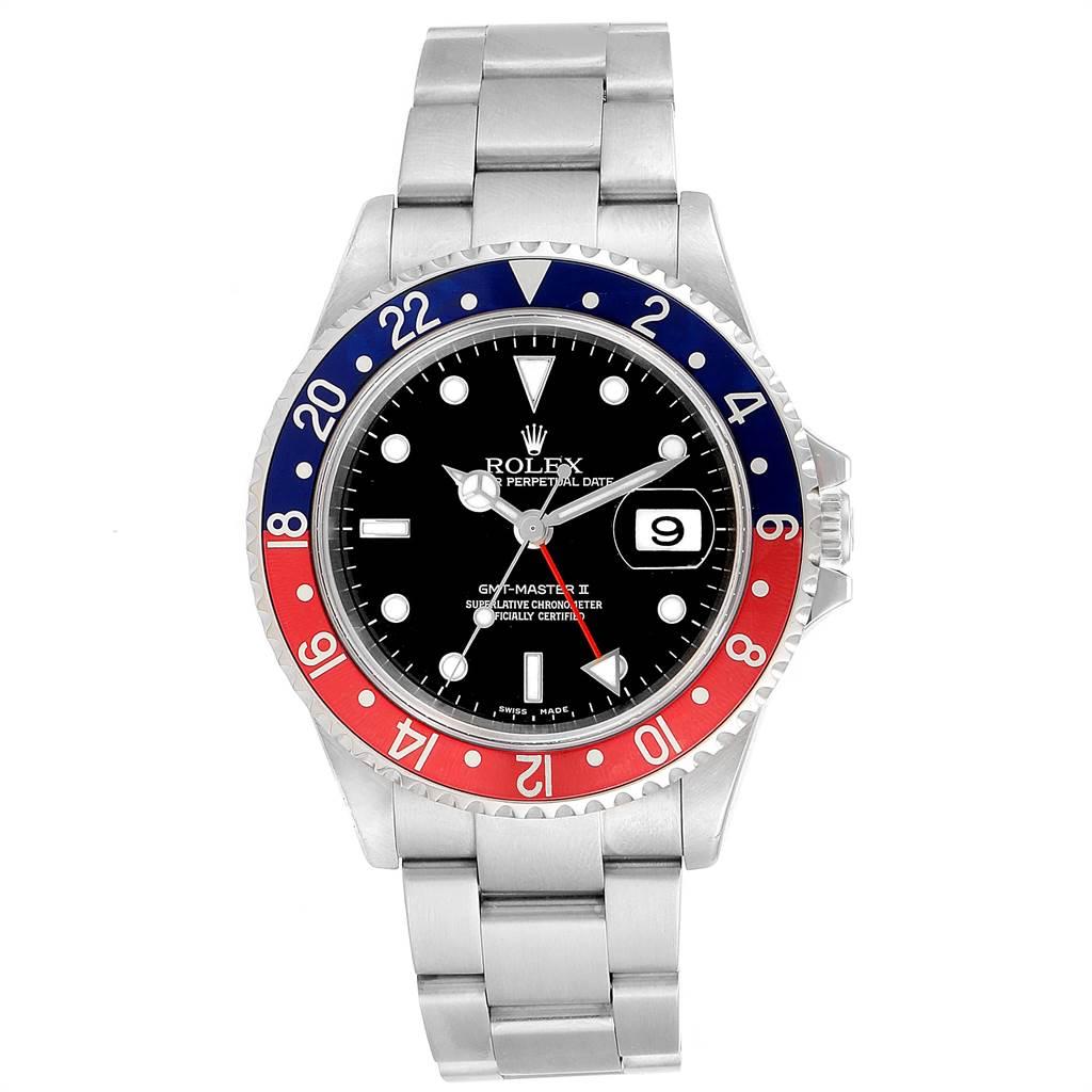 23680 Rolex GMT Master II Blue Red Pepsi Bezel Mens Watch 16710 Box Papers SwissWatchExpo