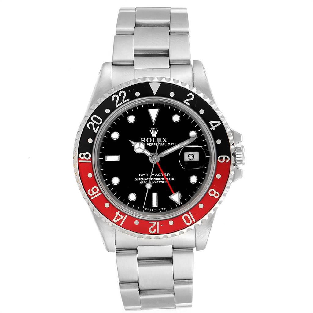 18583A Rolex GMT Master Black Red Coke Bezel Mens Watch 16700 SwissWatchExpo