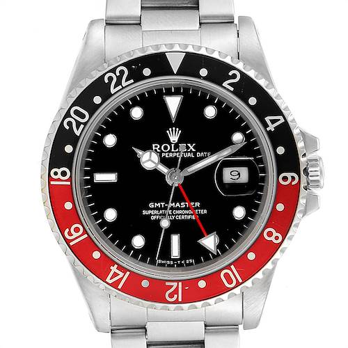 Photo of Rolex GMT Master Black Red Coke Bezel Mens Watch 16700