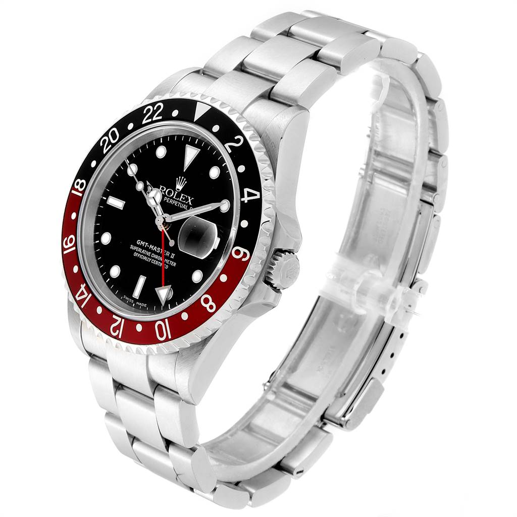 23764 Rolex GMT Master II Black Red Coke Bezel Steel Mens Watch 16710 SwissWatchExpo