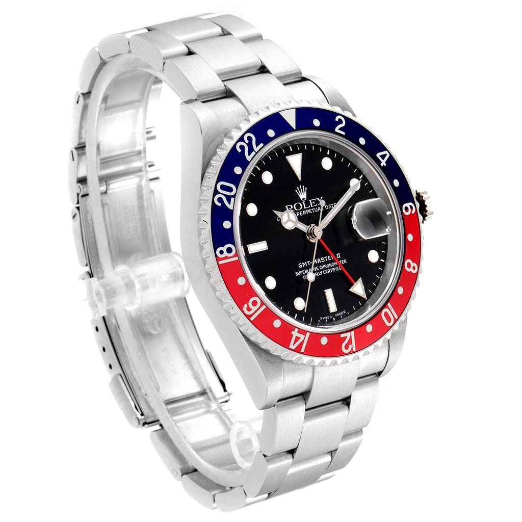 23520 Rolex GMT Master II Blue Red Pepsi Bezel Steel Mens Watch 16710 SwissWatchExpo