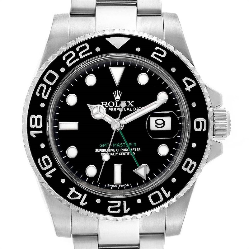 Rolex GMT Master II 40mm Green Hand Mens Watch 116710 Box Card SwissWatchExpo