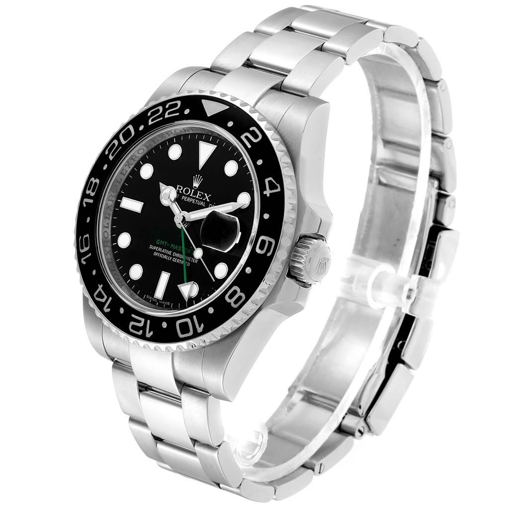 23932 Rolex GMT Master II 40mm Black Dial Green Hand Mens Watch 116710 SwissWatchExpo