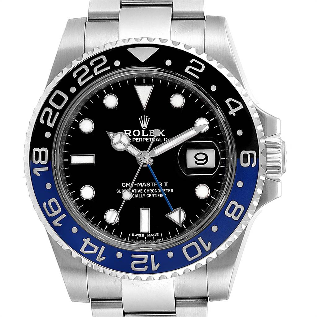 Rolex GMT Master II Batman Blue Black Bezel Steel Watch 116710 Box Card SwissWatchExpo
