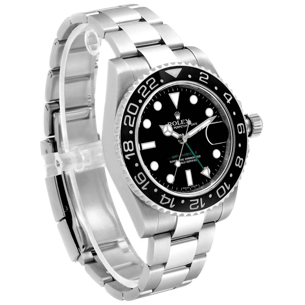 24497 Rolex GMT Master II 40mm Green Hand Mens Watch 116710 Box Card SwissWatchExpo