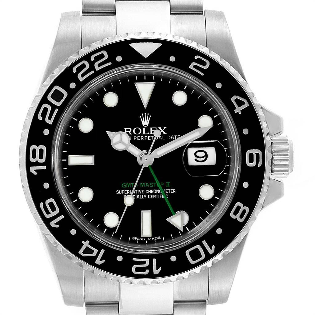 24492 Rolex GMT Master II 40mm Green Hand Mens Watch 116710 Box Card  SwissWatchExpo