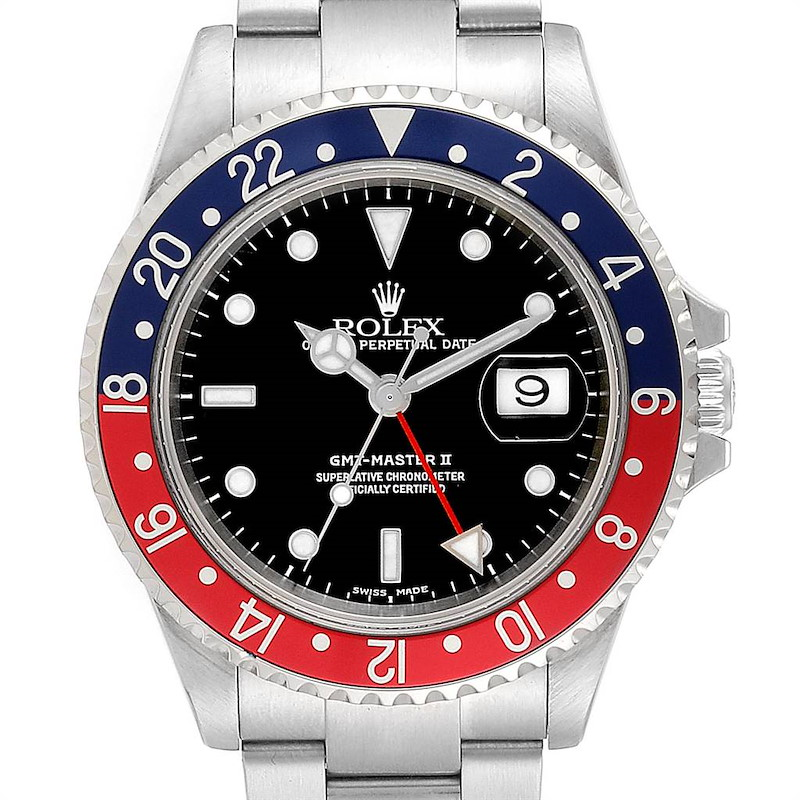 Rolex GMT Master II Blue Red Pepsi Bezel Mens Watch 16710 Box Papers SwissWatchExpo