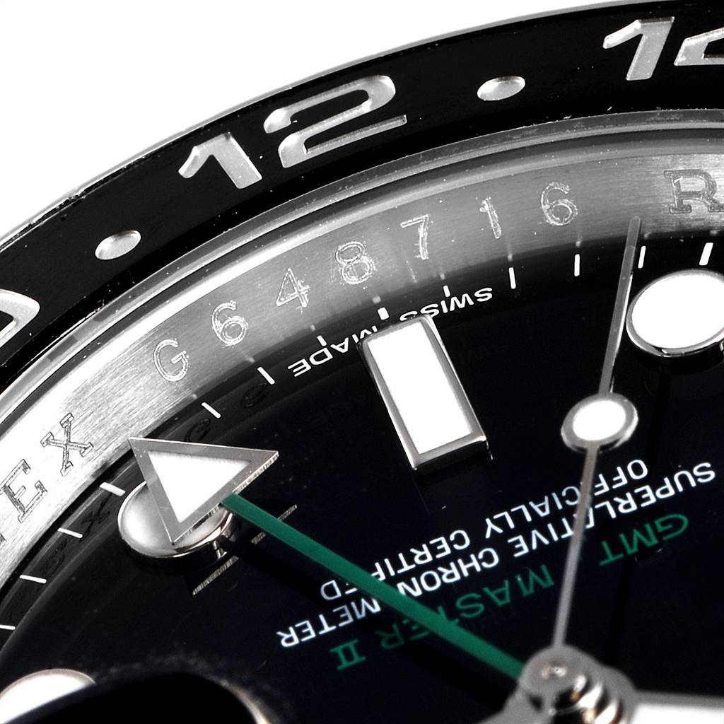 24496 Rolex GMT Master II Green Hand Steel Mens Watch 116710 Box Card SwissWatchExpo